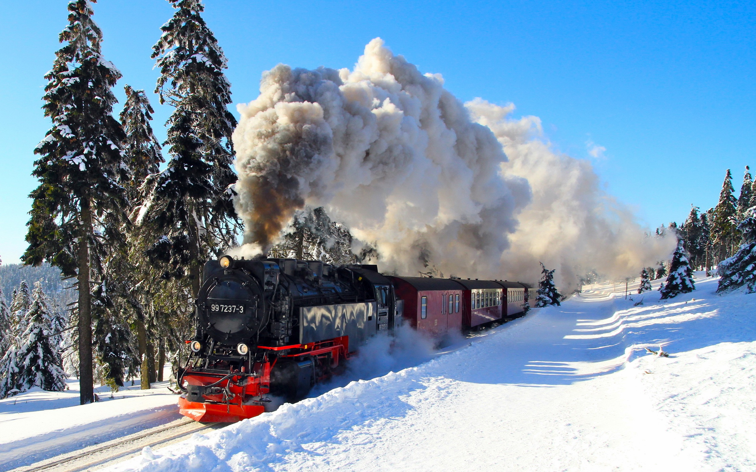 Winter Locomotive Background