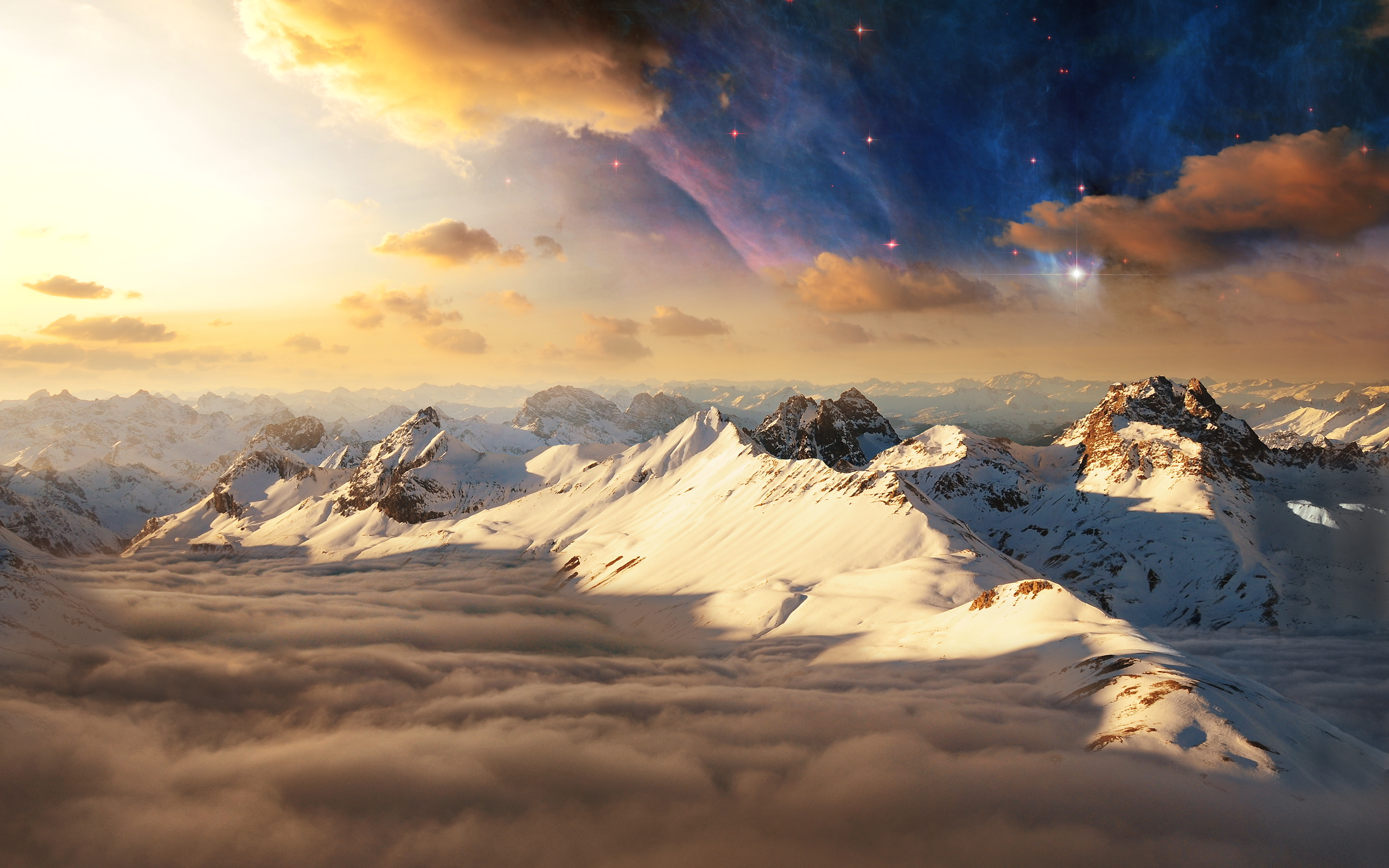 Winter mountains space sunset