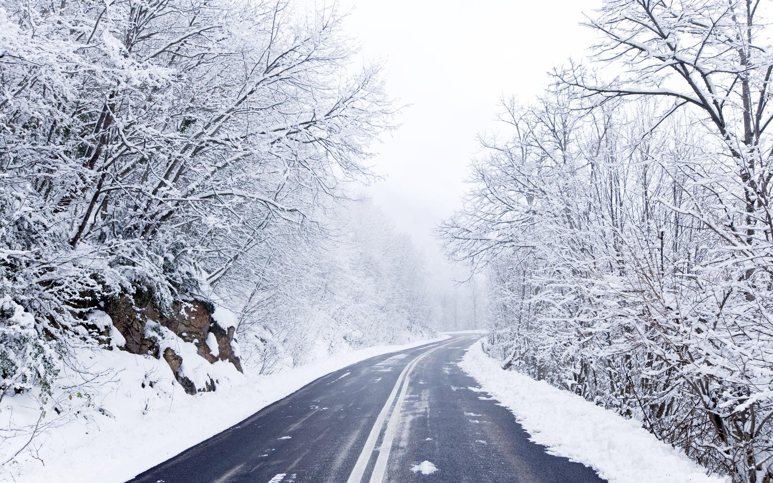 Cold Winter Road | 2560 x 1600 ...