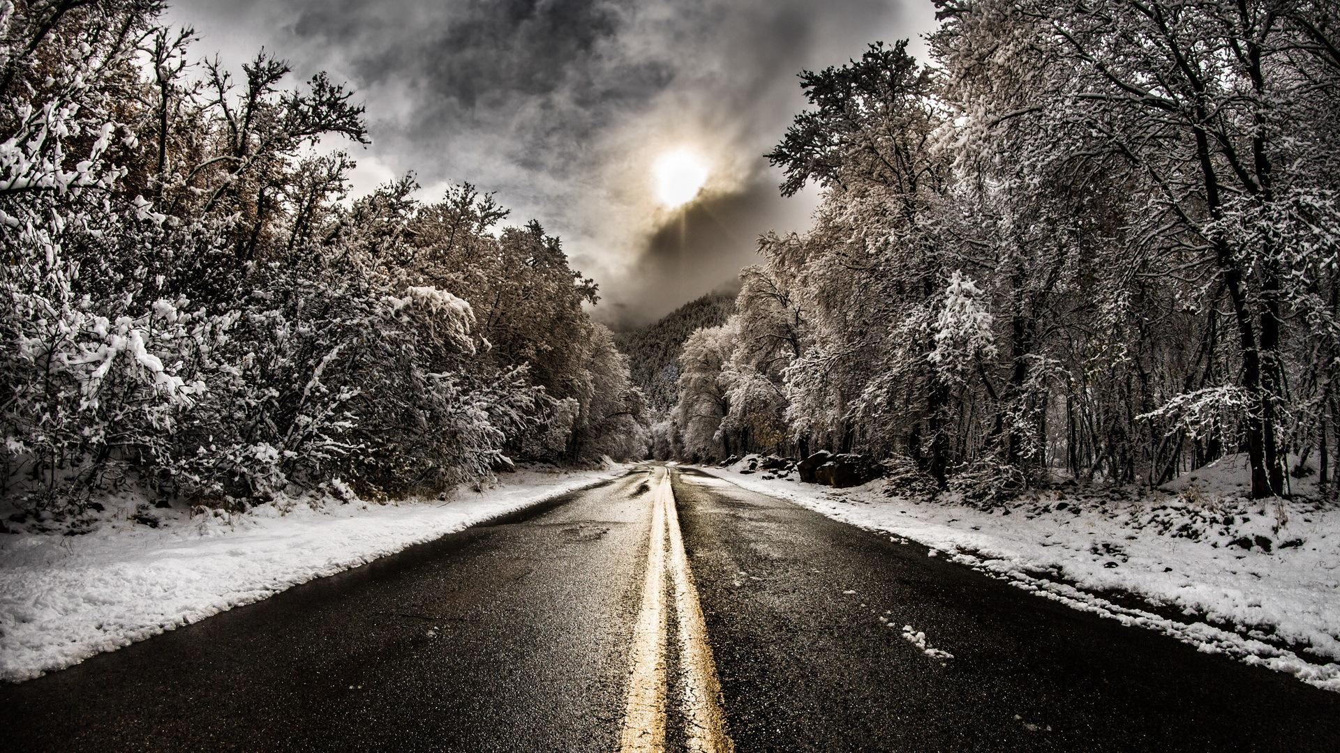 magical sky over blacktop road in winter HQ Wallpaper