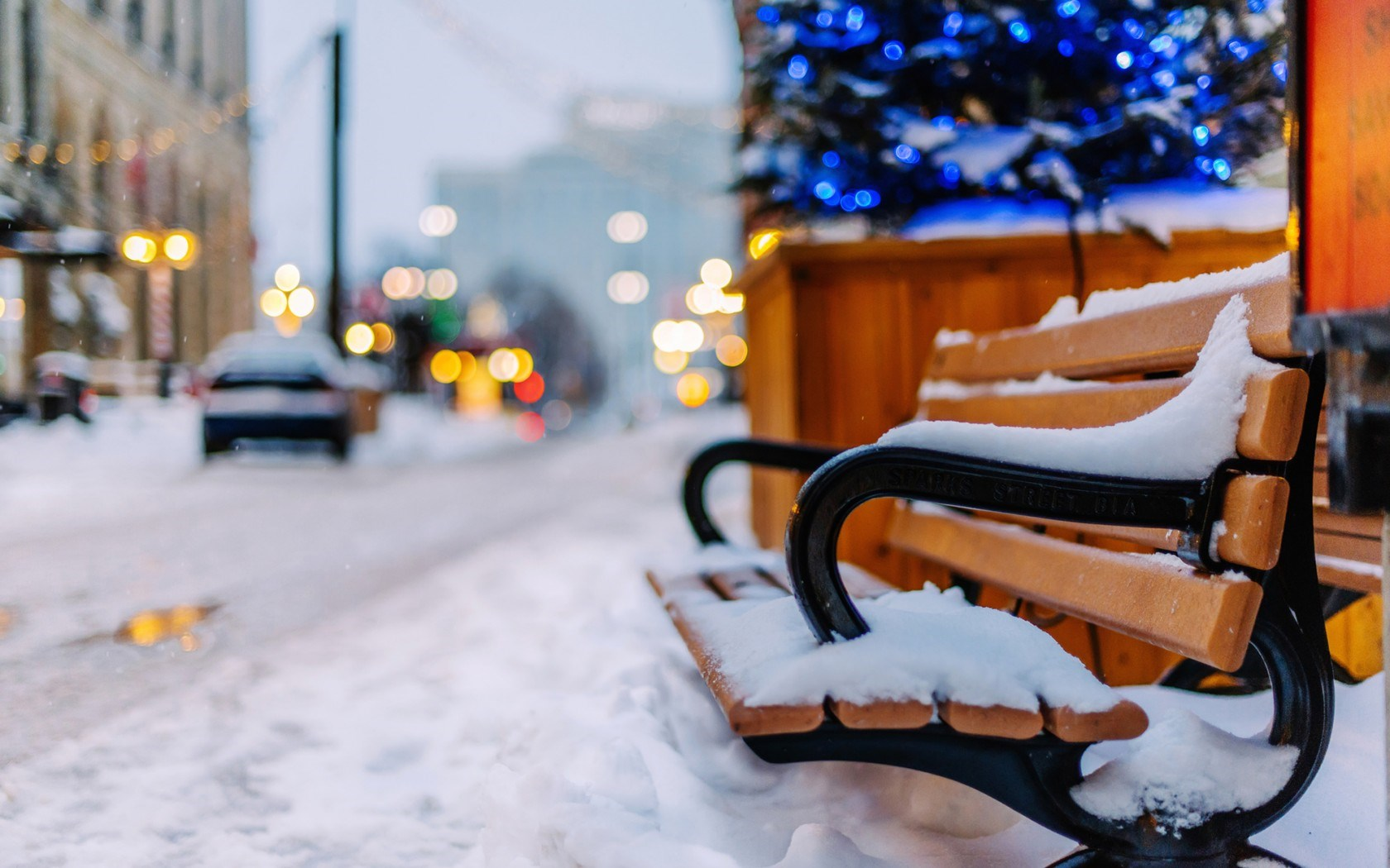 Winter Snow Bench Cars City