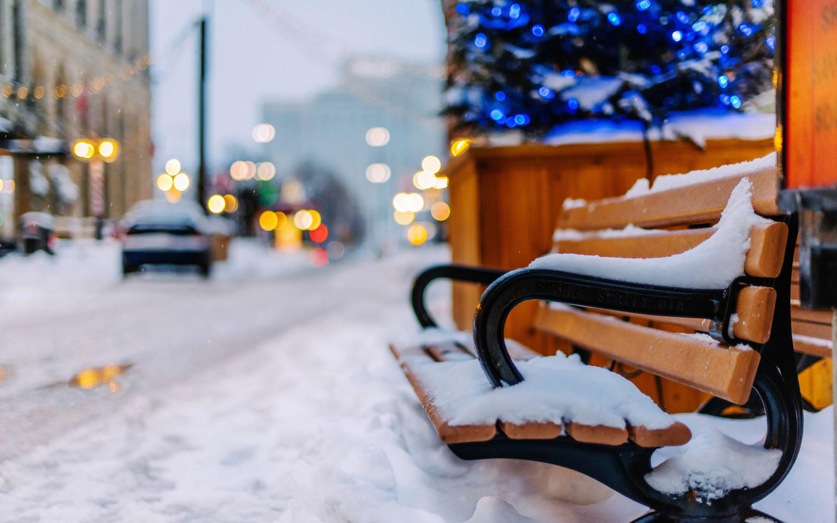 Winter Snow Bench Cars City