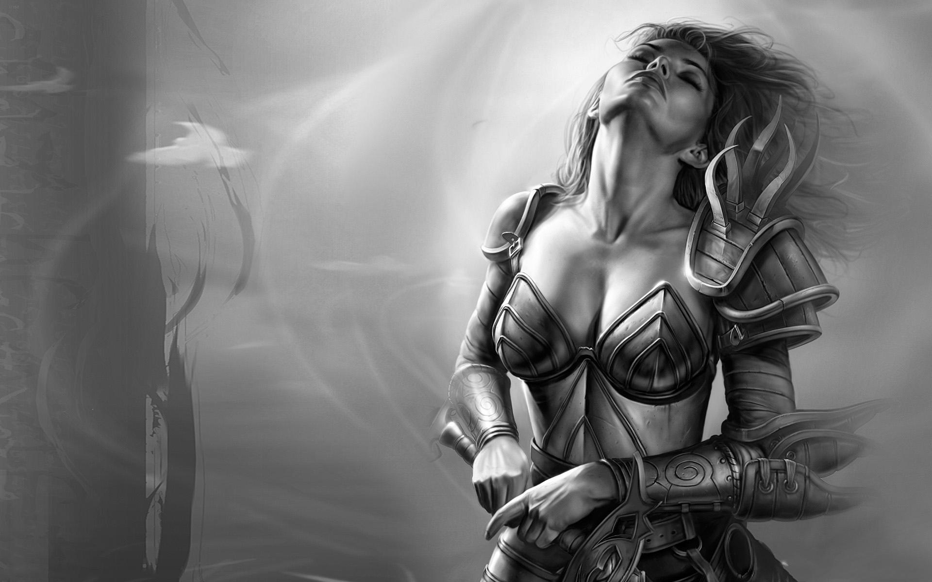 Woman armor monochrome