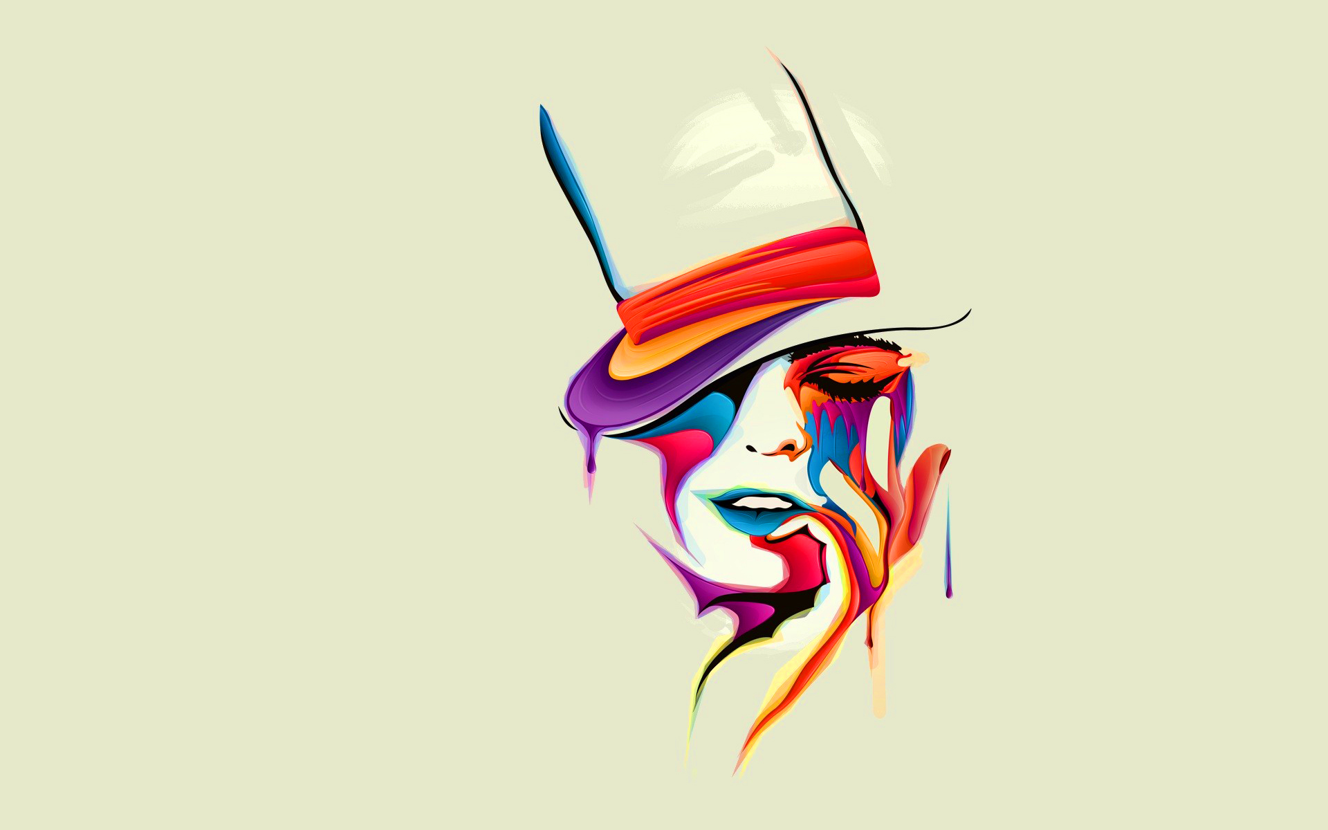 Woman melting multicolor art