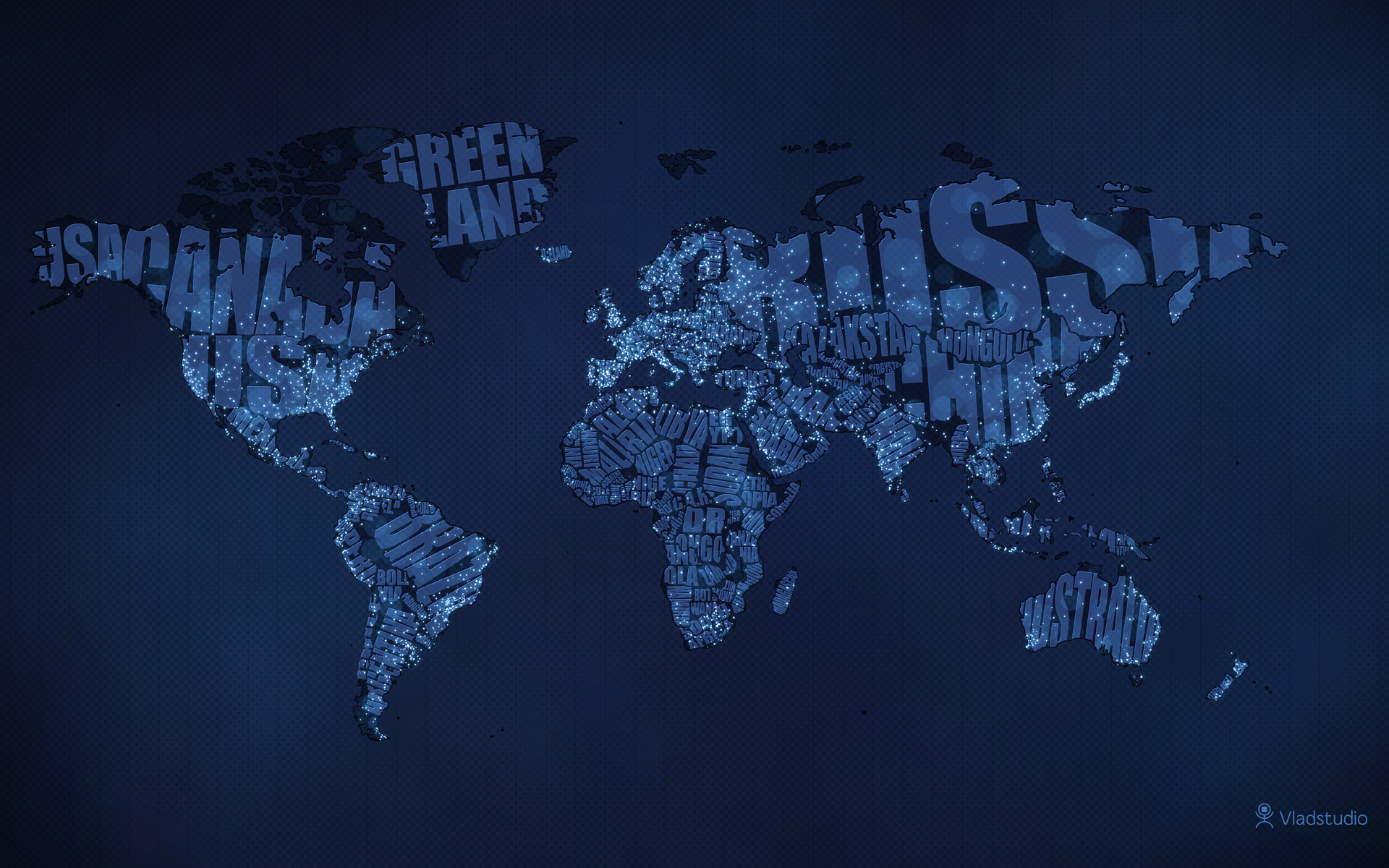 Typographic World Map Night by vladstudio
