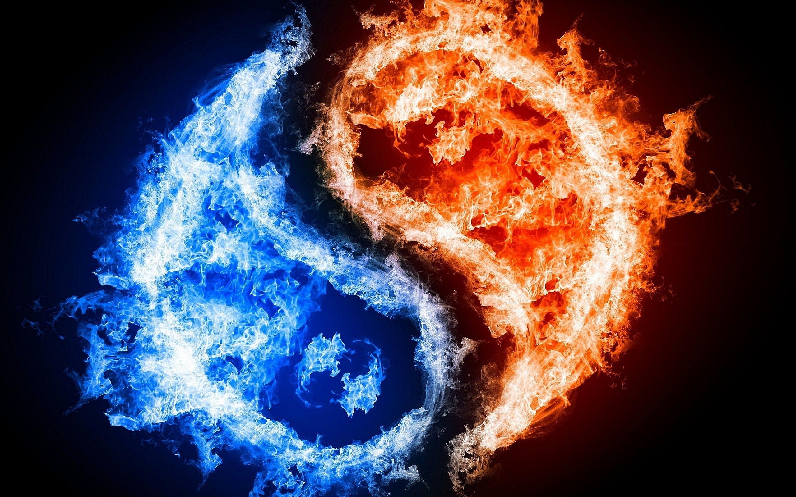 yin yang fire ice wallpaper | 2560x1600 | #11213