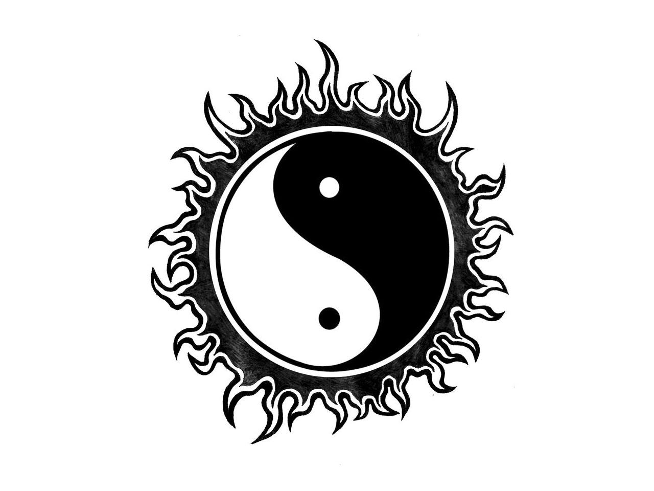 Yin Yang sun tattoo wallpaper