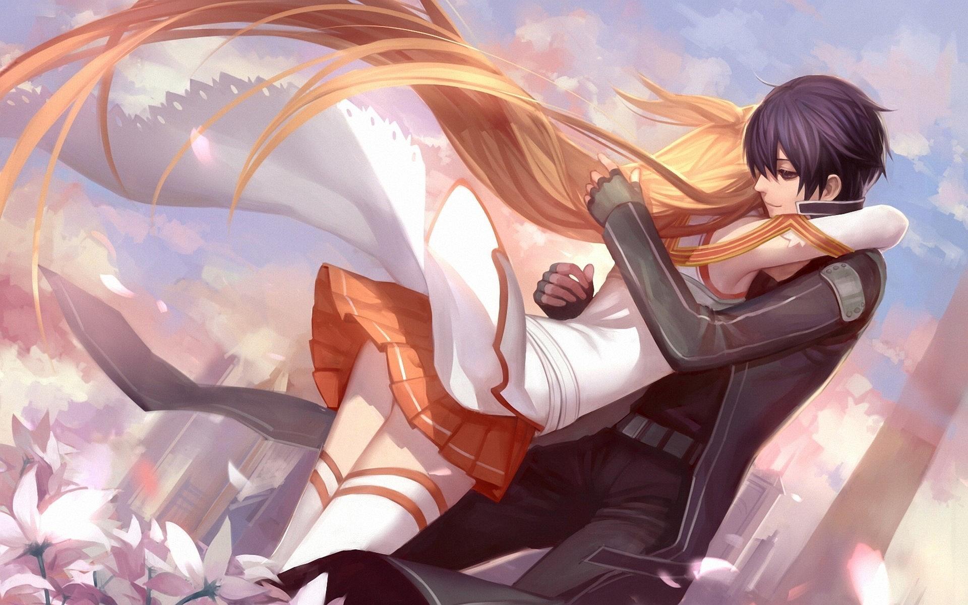 Yuuki asuna kirigaya kazuto hug