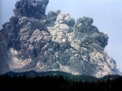 Mount St. Helens, moments after the landslide that triggered the May 18, 1980 eruption.