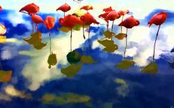 Abstract flamingos art