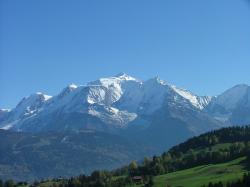 Mont Blanc, the highest mountain in the Alps, view from the Savoy side