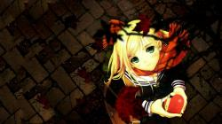 Anime Blonde Girl Heart HD Wallpaper