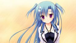 Haotone Tsubasa Anime Girl Blue Hair Game Cute