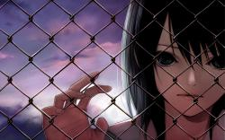 Anime girl cyclone fence
