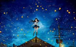 Anime girl fireflies