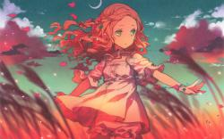 Anime girl wind breeze