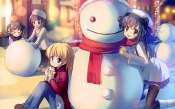 Anime Winter Snowman Wallpaper