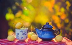 Apples Cup Teapot Table Autumn