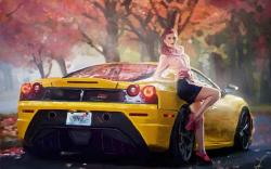 Art Ferrari Car Yellow Girl Road Autumn Trees