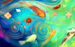 Art Fish Flowers Water Abstract