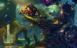 Art Forest Children Trees Waterfall Goblins River Fantasy