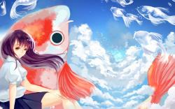 Art Girl Fish Sky Anime
