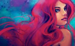 Lovely Redhead Girl Blue Eyes Painting Art HD Wallpaper