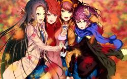 Art Girls Leaves Autumn Anime