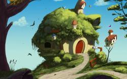Art Home Birds Houses Trees