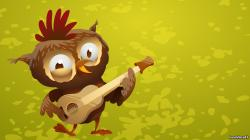 Art Owl Guitar Funny Cartoon
