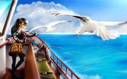 Art Sea Girl Boat Gulls Birds