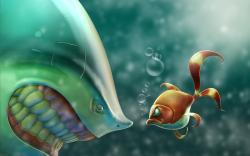 Art Situation Fish Shark Bubbles Cartoon