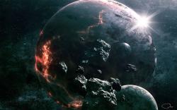 Art, qauz, space, planet, rocks, destruction, meteorites