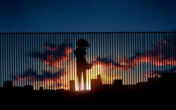 Art Sunset Sky Clouds City Girl Anime
