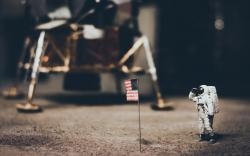 Astronaut US Flag Ship Space