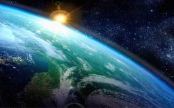 atmosphere outer space stars earth art sun wallpaper background