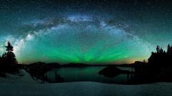 The Milky Way Above Mountain Lake Wallpaper and Aurora Borealis