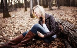 Autumn Leaf Forest Blonde Girl Smile Photo