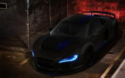 Black Audi R8 Blue Lights Awesome Car HD Wallpaper