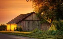 Sunset On A Barn Hdr wallpaper