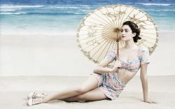 Beach Brunette Girl Emmy Rossum Umbrella