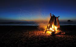 Beach campfire night