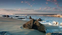 Download Wallpaper clouds beach rocks -307889-30