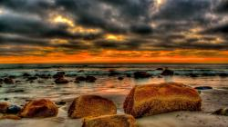 Beautiful Beach Strewn With Rocks At Sunset Hdr Hd Desktop Background HD wallpapers