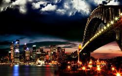 skyline bridge awesome lights beautiful city at night