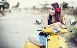 Beautiful Girl Asian Smile Scooter Headphones