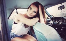 Beautiful Girl Model Car Mustang Mood