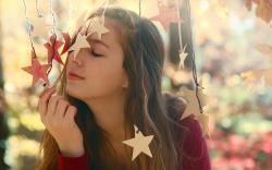 Pretty Girl Stars Mood Photo HD Wallpaper