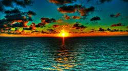 Beautiful Orange On Green Ocean Sunset HD wallpapers