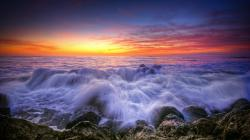 Beautiful sea waves at sunset HQ WALLPAPER - (#133846)